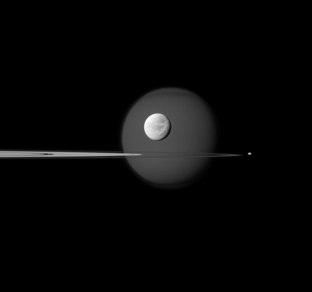 Saturn's rings, Dione, Pan, Pandora and Titan