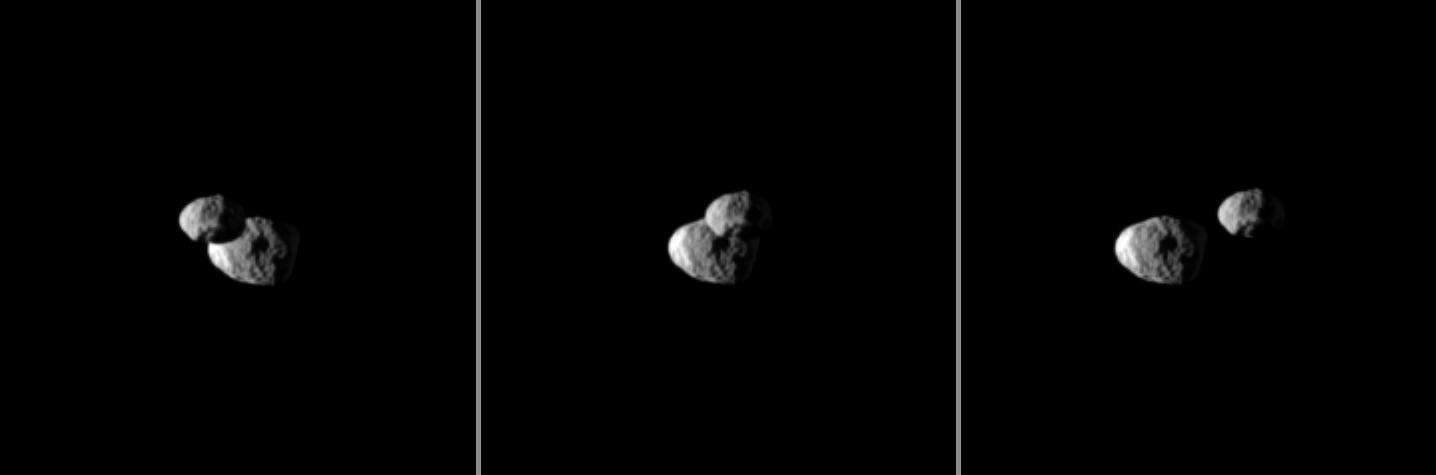 "Saturn's moon Epimetheus passes in front of Janus in this ""mutual event"" chronicled by the Cassini spacecraft."