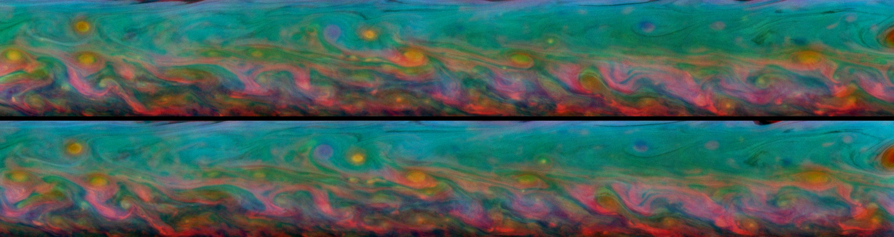 Patterns that come and go in the course of one Saturn day within the huge storm in the planet's northern hemisphere.
