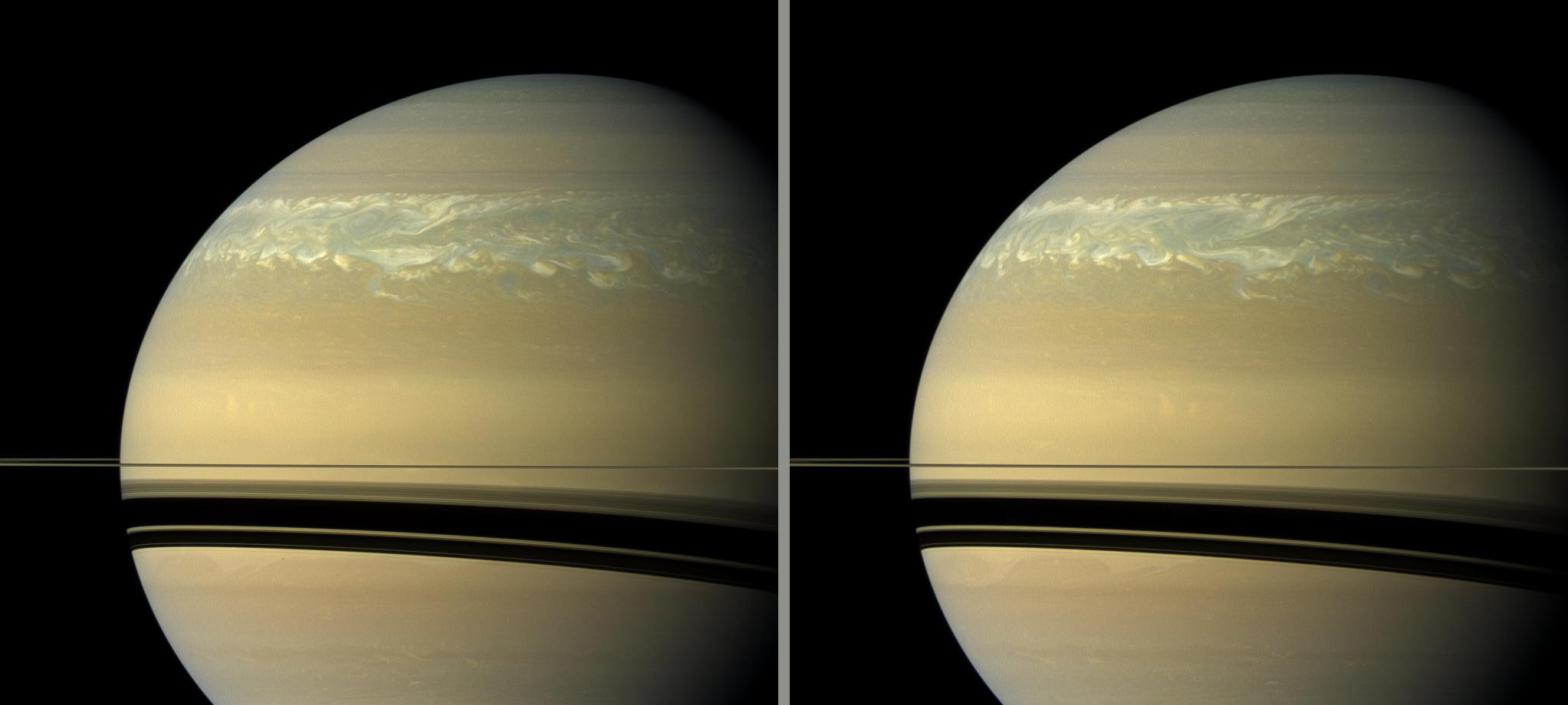 Two natural color views of Saturn's huge storm taken 11 hours apart