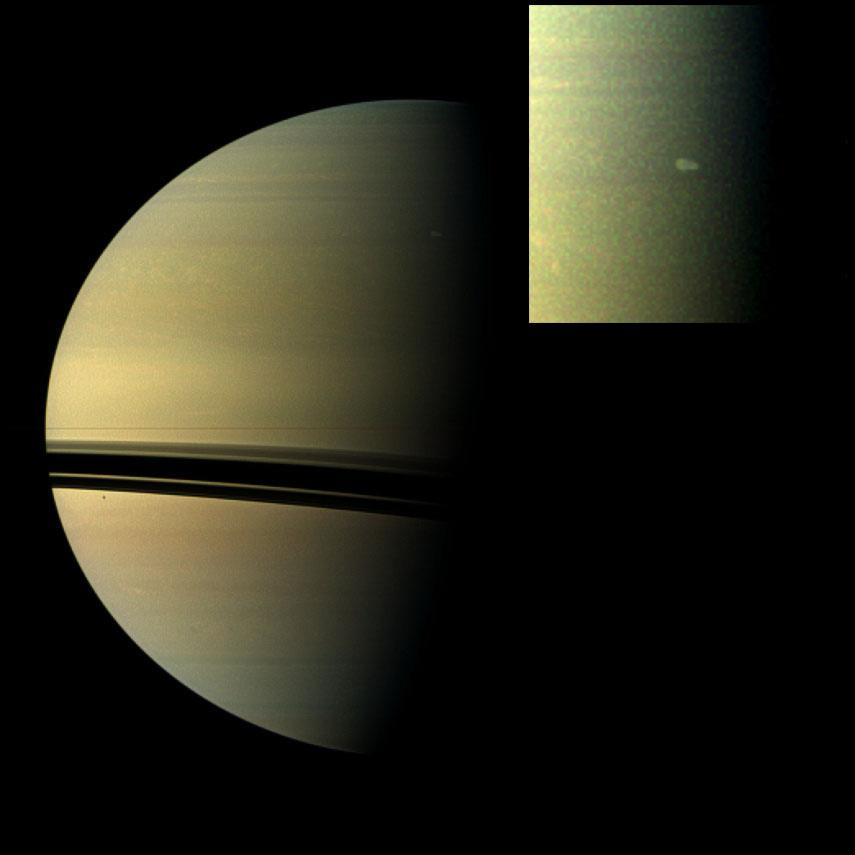 The largest storm to ravage Saturn in decades started as a small spot seen in this image of Saturn.