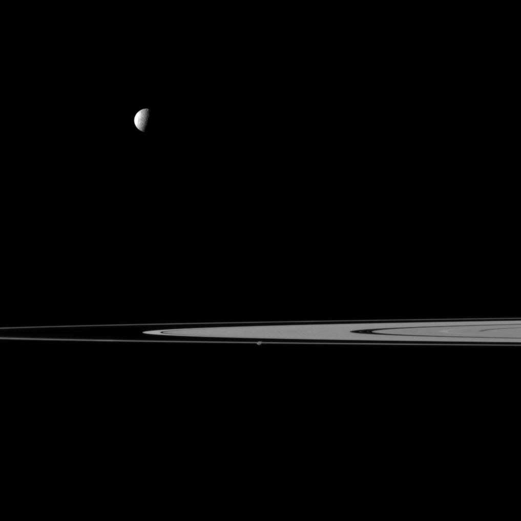 Saturn's rings, Mimas and Prometheus