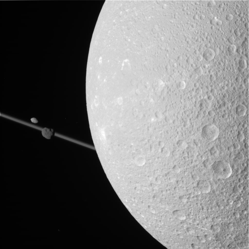 This Dione encounter was intended primarily for Cassini's composite infrared spectrometer and radio science subsystem.