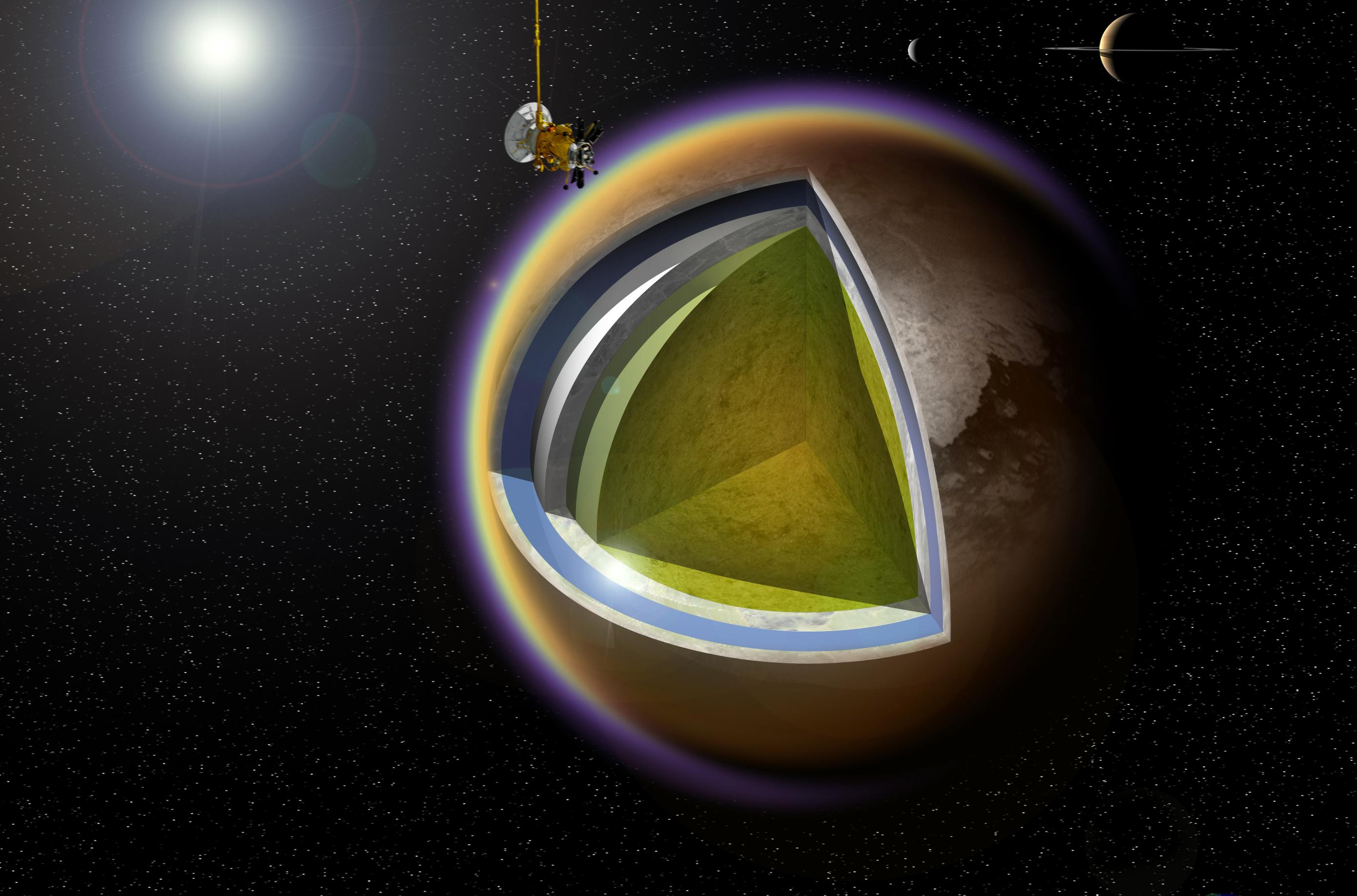 This artist's concept shows a possible model of Titan's internal structure that incorporates data from NASA's Cassini spacecraft.