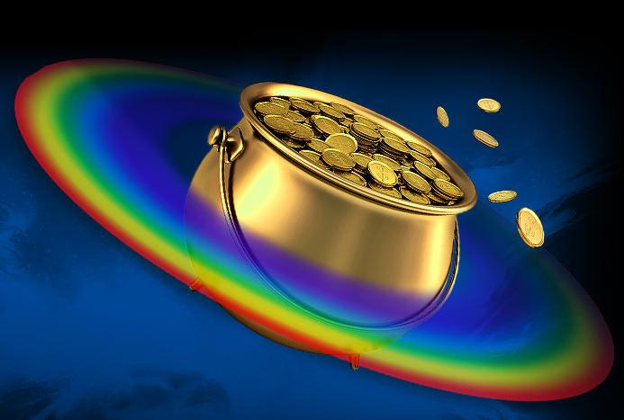 Artists concept of a bowl of gold in the place of Saturn and the rings replaced by a rainbow