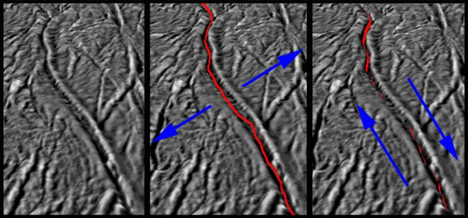 "These images, based on ones obtained by NASA's Cassini spacecraft, show how the pull of Saturn's gravity can deform the surface of Saturn's moon Enceladus in the south polar region crisscrossed by fissures known as ""tiger stripes."""