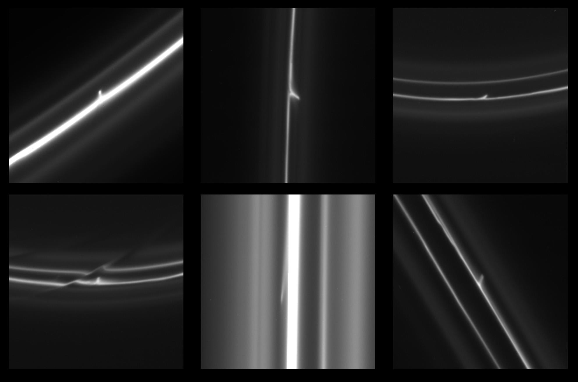 Six Cassini images showing trails that were dragged out from Saturn's F ring