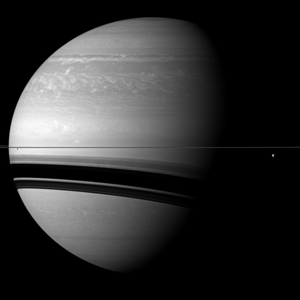 Saturn, Tethys and Enceladus