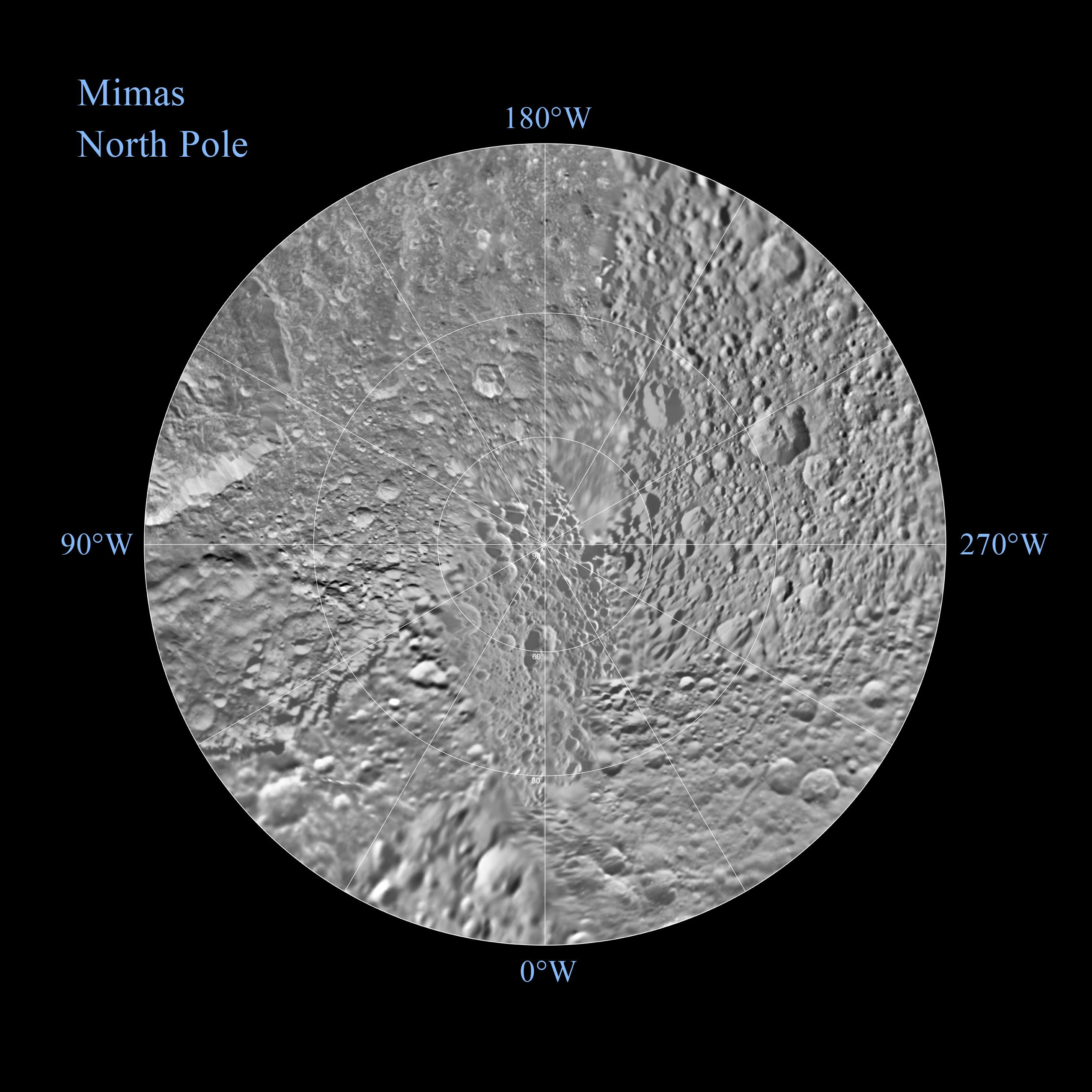 The northern and southern hemispheres of Saturn's moon Mimas are seen in these polar stereographic maps, mosaicked from the best-available Cassini and Voyager images.