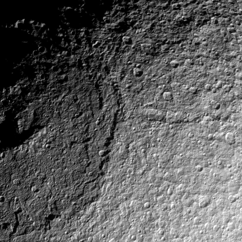 The Cassini spacecraft takes a detailed look at the northern part of the huge Odysseus Crater on Saturn's moon Tethys.
