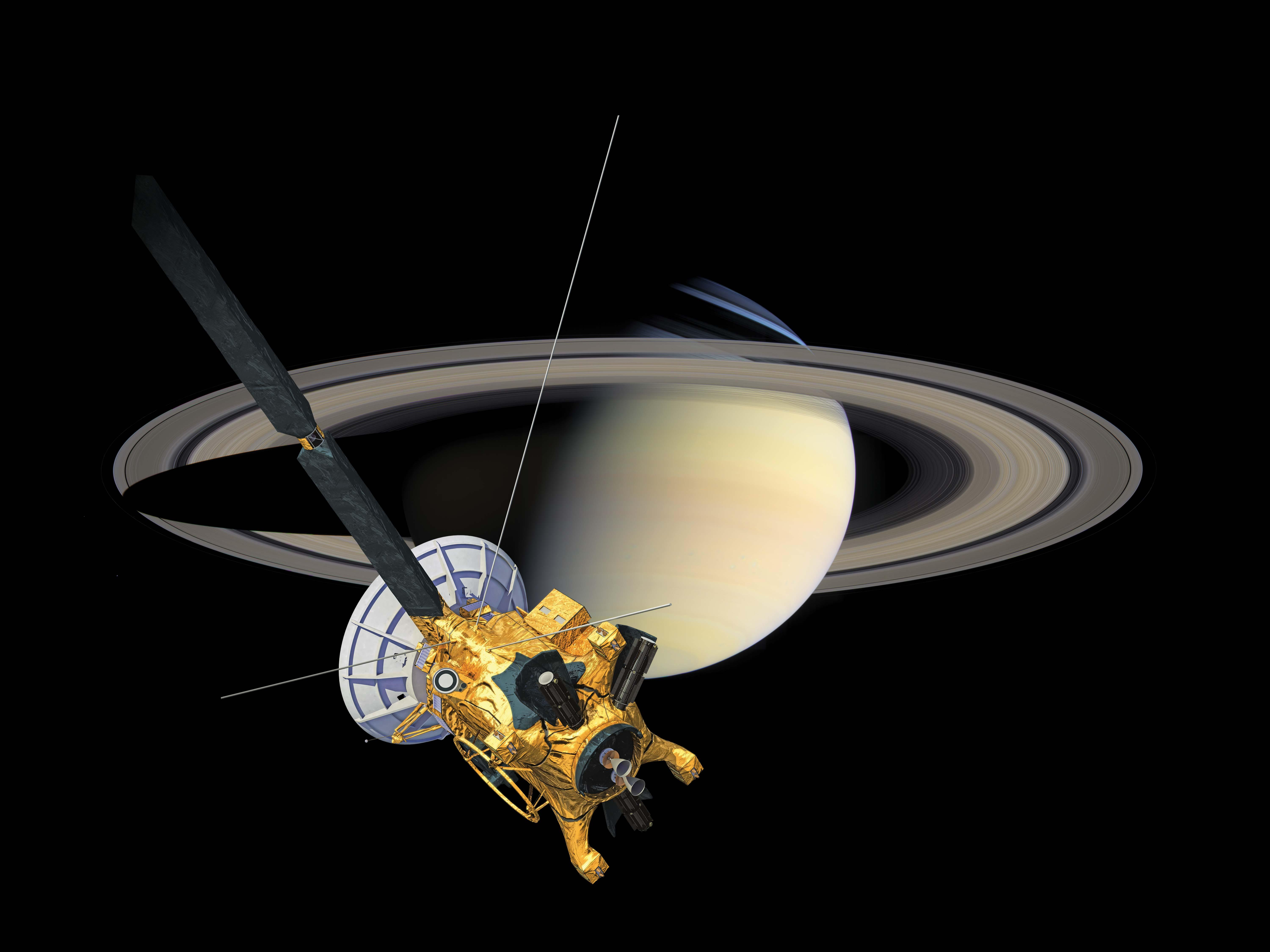 Saturn's shadow passes over its rings as the Cassini spacecraft looks on in this artist's concept.