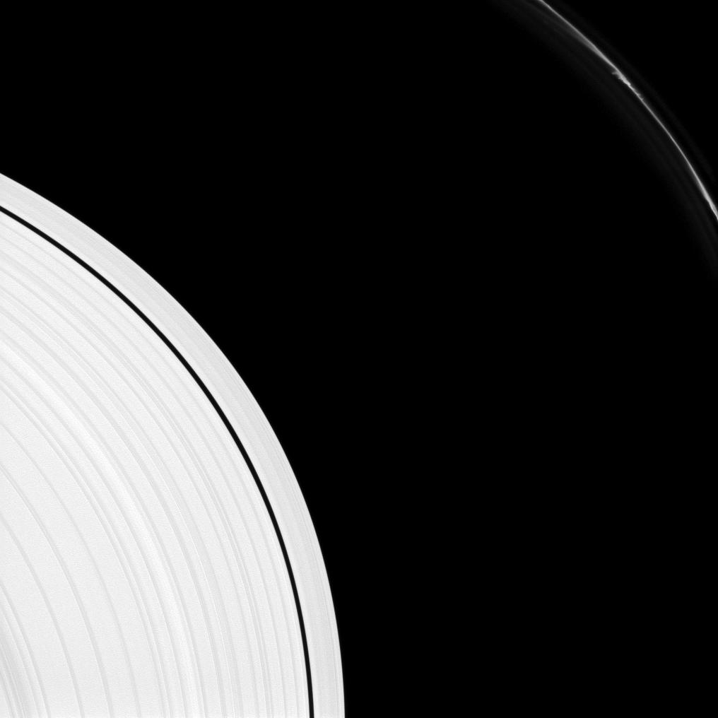 Saturn's F ring shows several 'mini-jets' near the upper-right of this image captured by the Cassini spacecraft.
