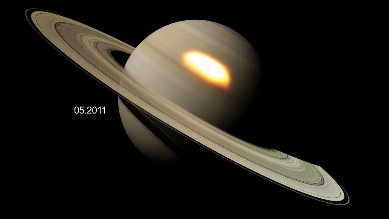 "This animation shows ""beacons"" of hot air seen in the infrared that appeared during a great springtime storm on Saturn from January 2011 to March 2012."