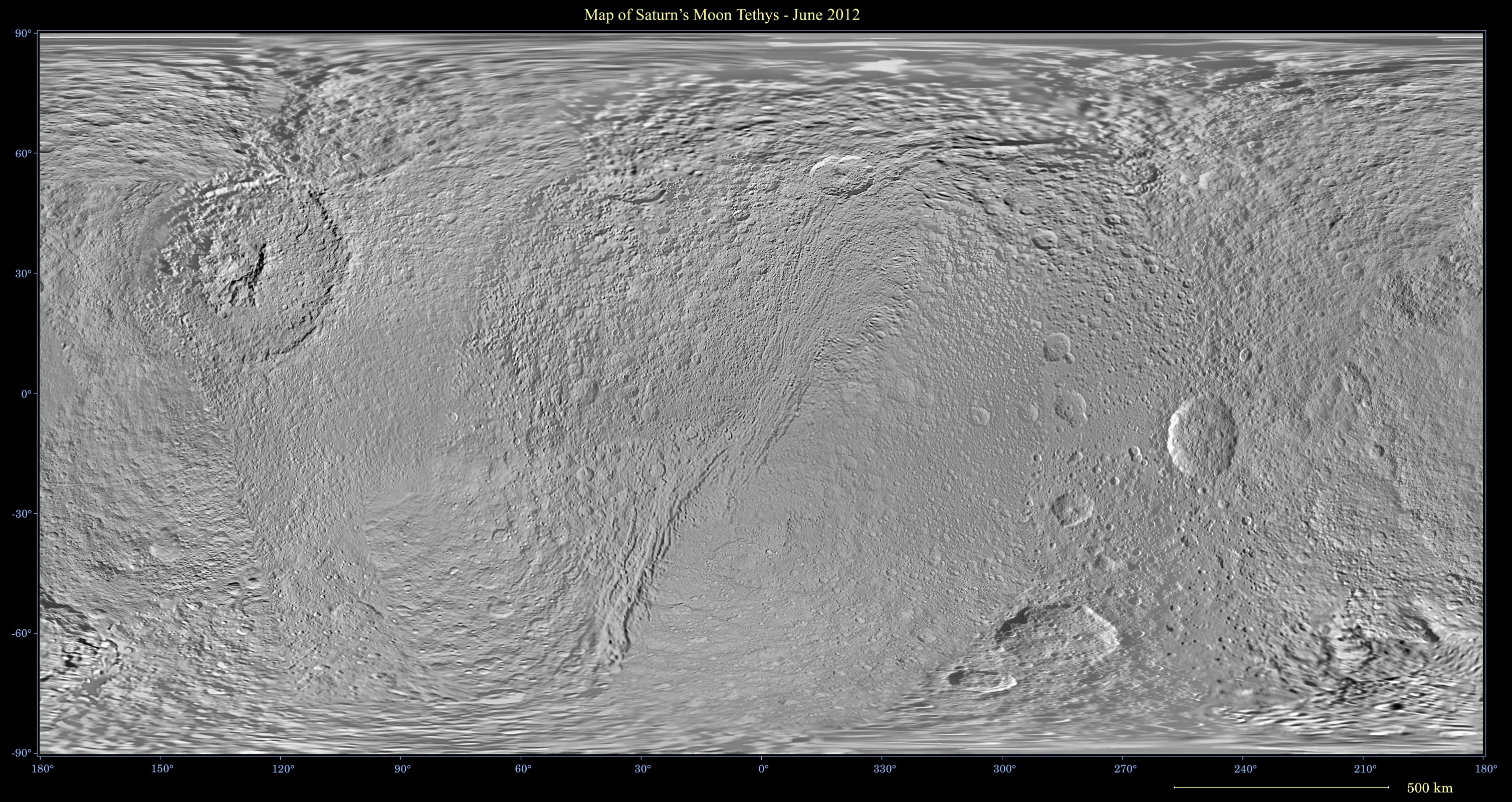 This global map of Saturn's moon Tethys was created using images taken during Cassini spacecraft flybys.