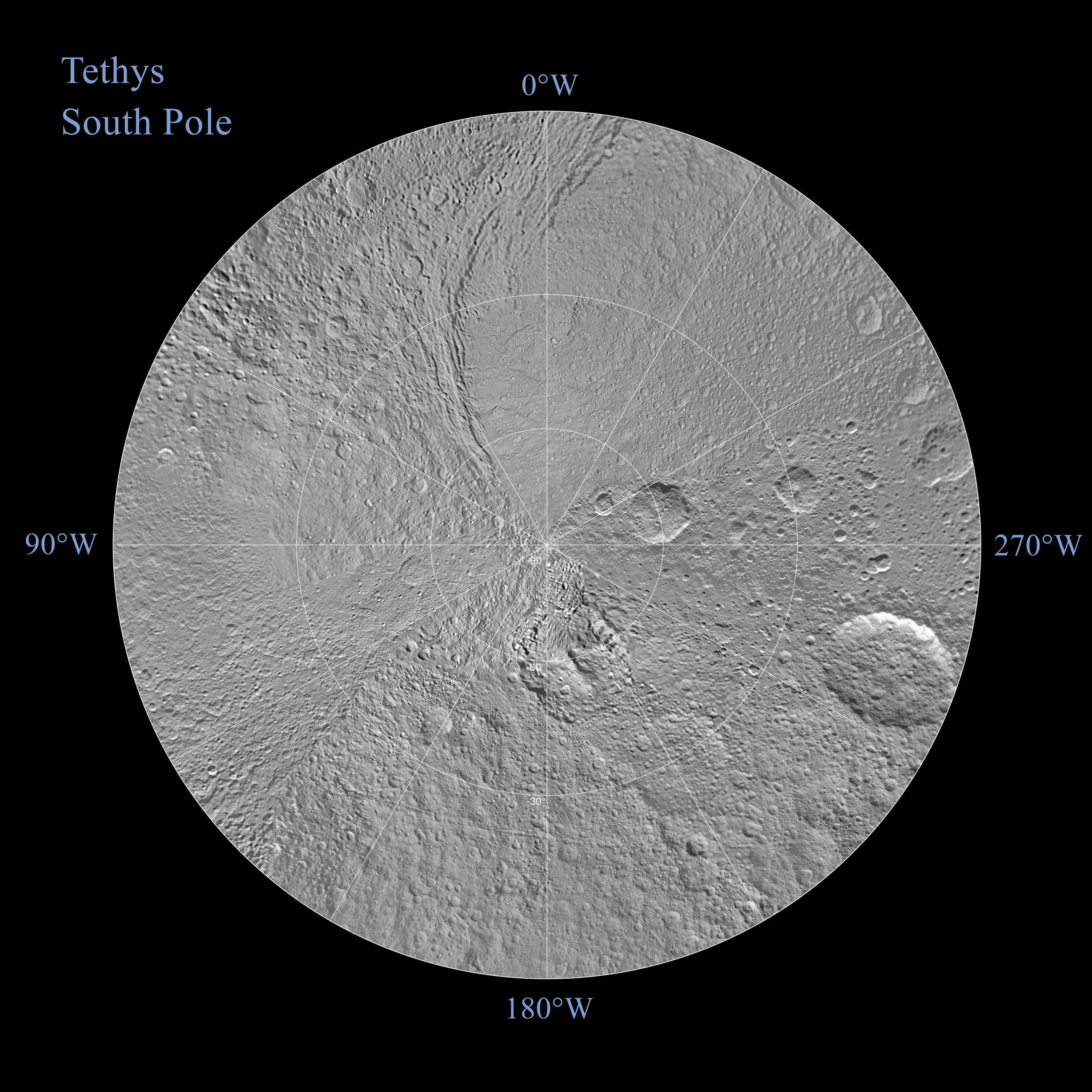 The northern and southern hemispheres of Tethys are seen in these polar stereographic maps, mosaicked from the best-available Cassini images.
