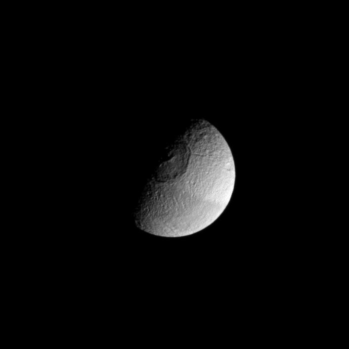 Although Mimas holds the unofficial designation of 'Death Star moon,' Tethys is seen here also vaguely resembling the space station from Star Wars.