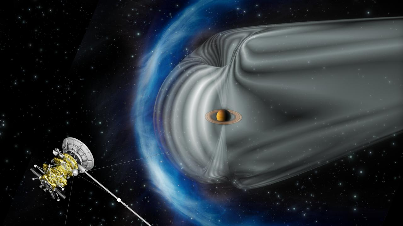 This artist's impression shows Cassini exploring the magnetic environment of Saturn.