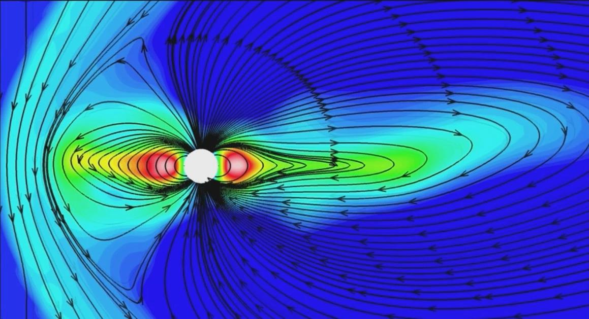 Video shows different views of the interaction of Saturn's magnetosphere with the solar wind