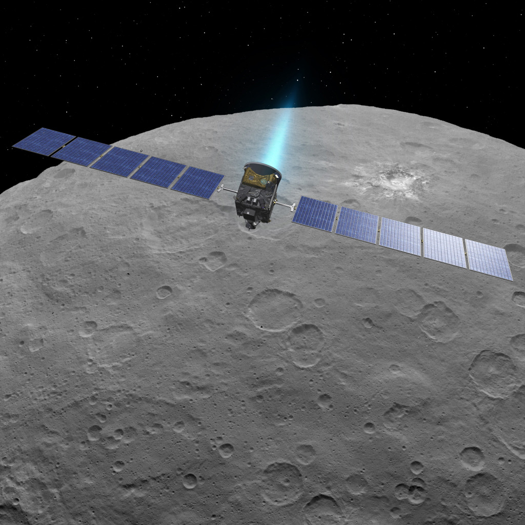 Dawn Fires Its Engine Above Ceres (Artist Concept)