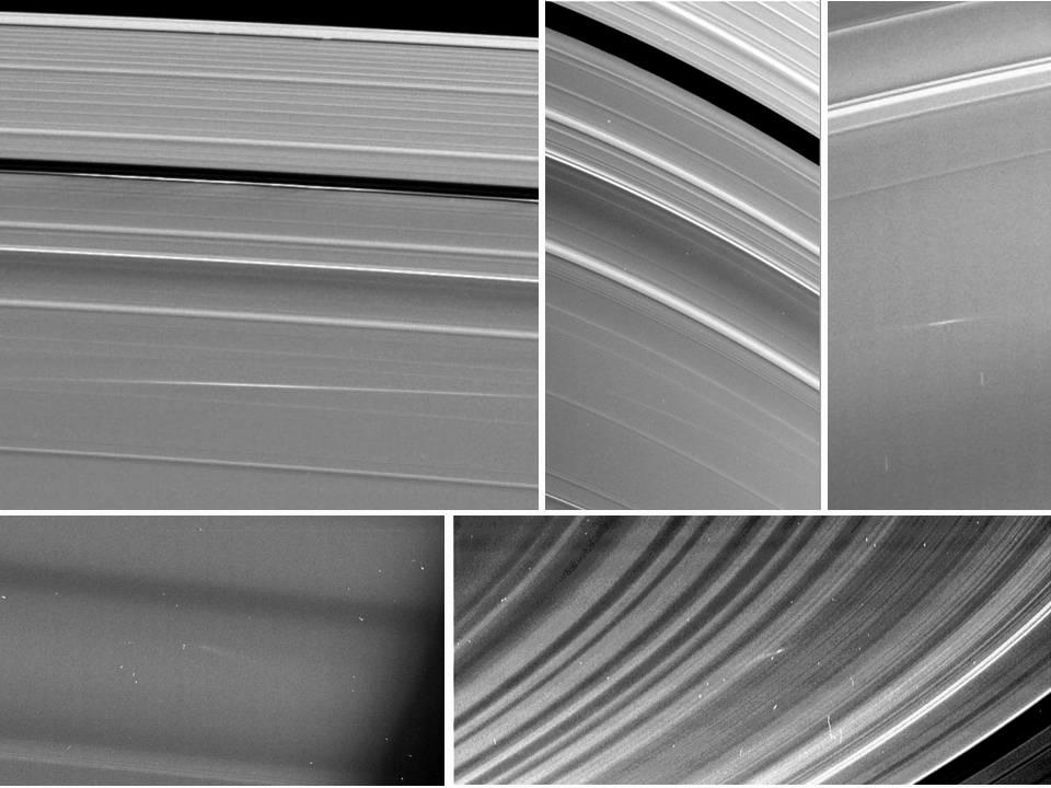 Five images of Saturn's rings