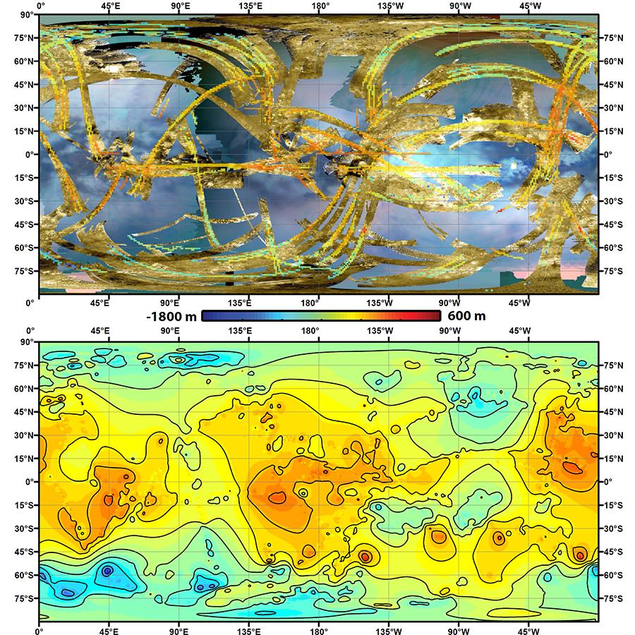 Global, topographic map of Saturn's moon Titan