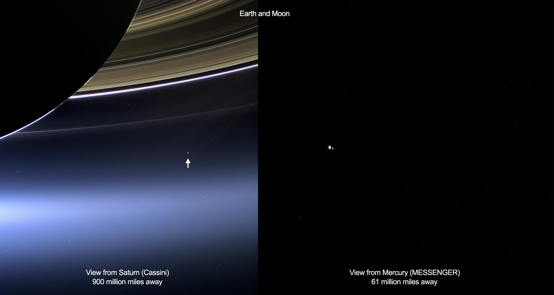 These images show views of Earth and the moon from NASA's Cassini (left) and MESSENGER spacecraft (right) from July 19, 2013.