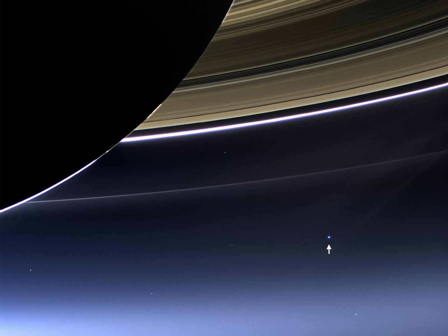 Saturn's rings, Earth and the moon