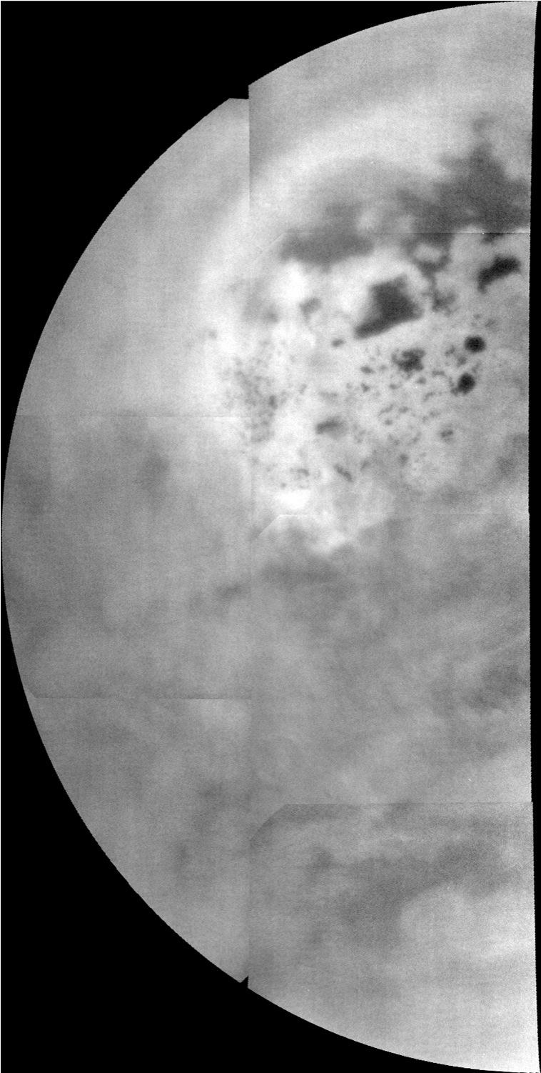 This mosaic, made from near-infrared images of Titan obtained by Cassini's imaging science subsystem, shows a view from the north pole (upper middle of mosaic) down to near the equator at the bottom.