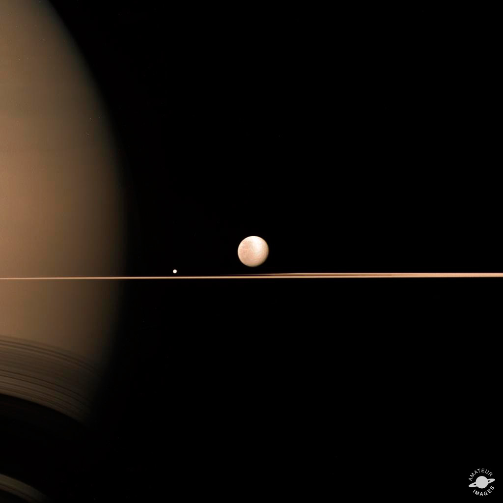 Saturn, Rhea and Mimas by Elisabetta Bonora