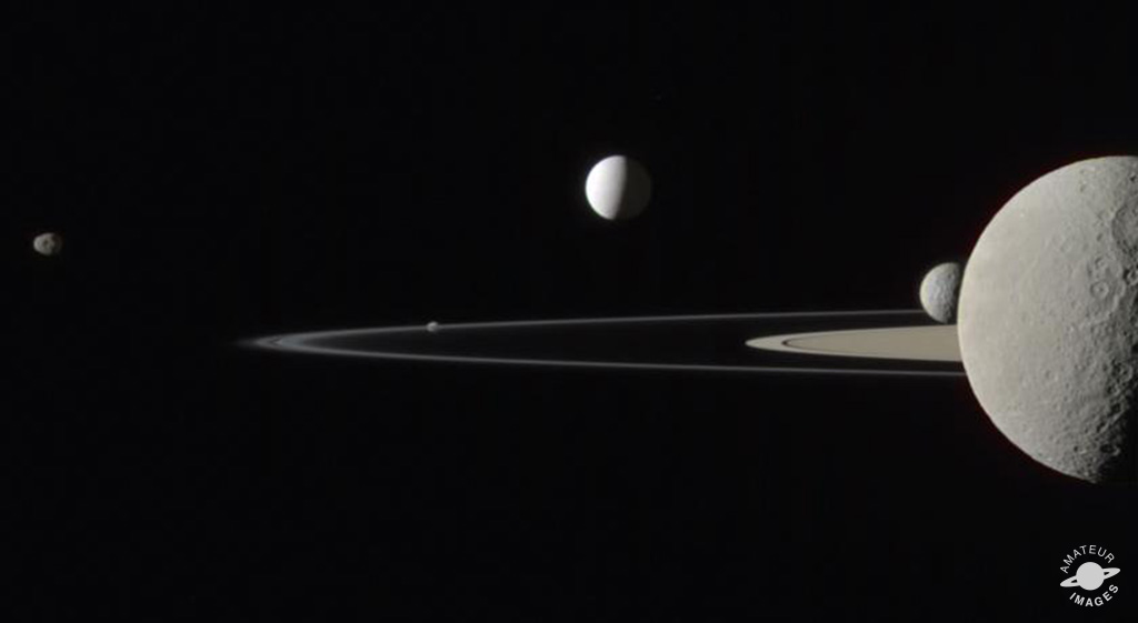 Cassini caught five moons at the edge of Saturn's ring system in this natural color photo from July 29, 2011.