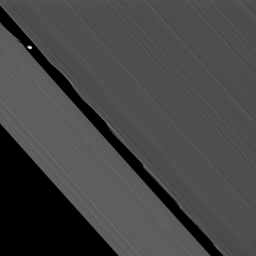 The Cassini spacecraft captures here one of its closest views of Saturn's ring-embedded moon Daphnis.