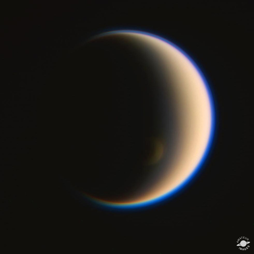 This is an RGB-composite of Saturn's moon Titan made from raw Cassini images acquired on Jan. 2, 2014.