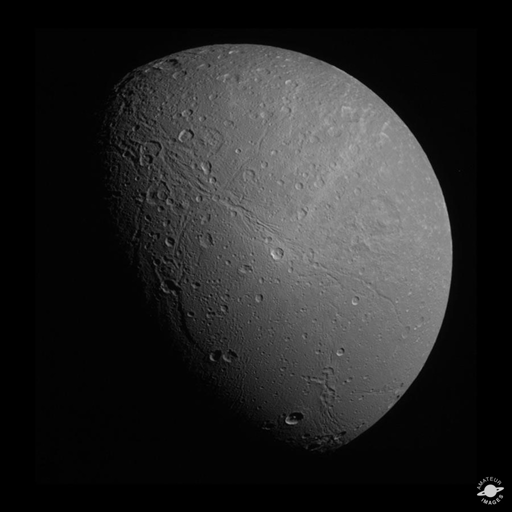 View of Dione processed to appear approximately true color