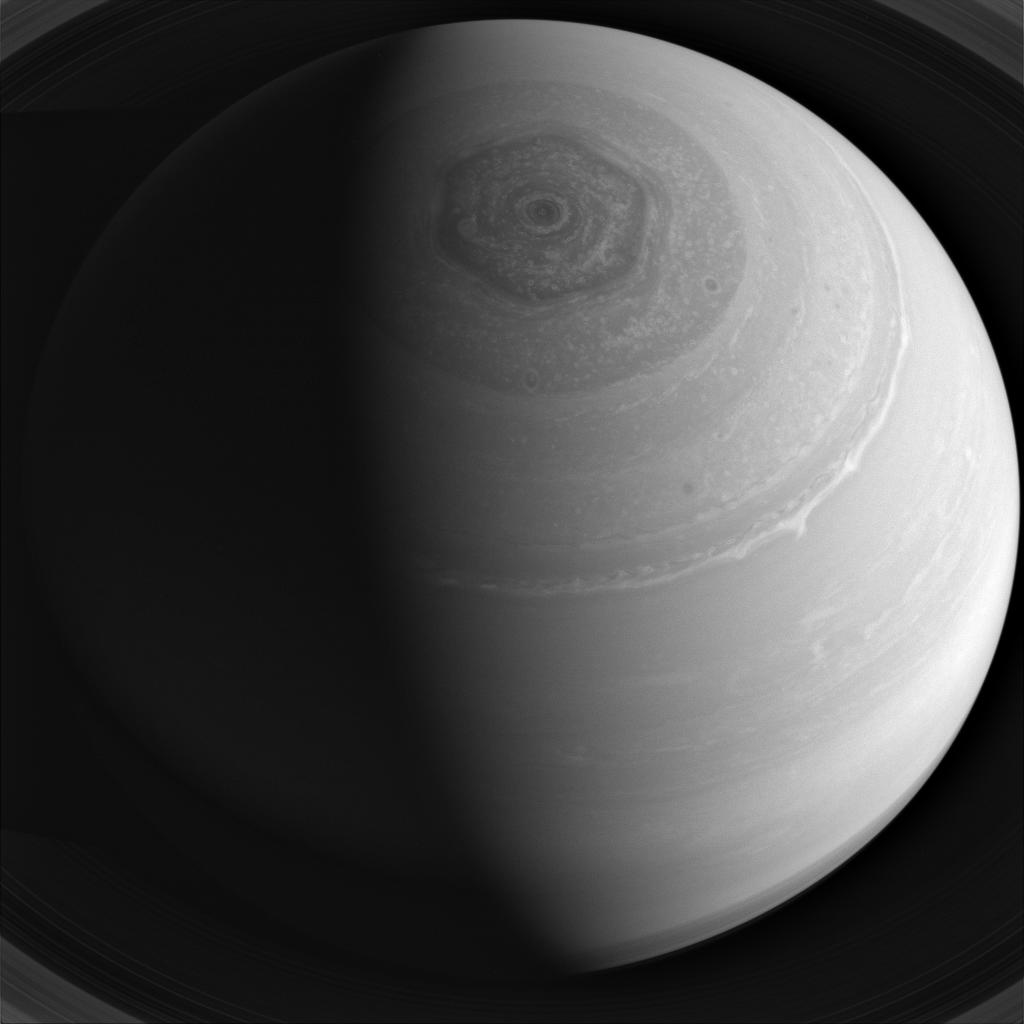 Saturn and its famous hexagon