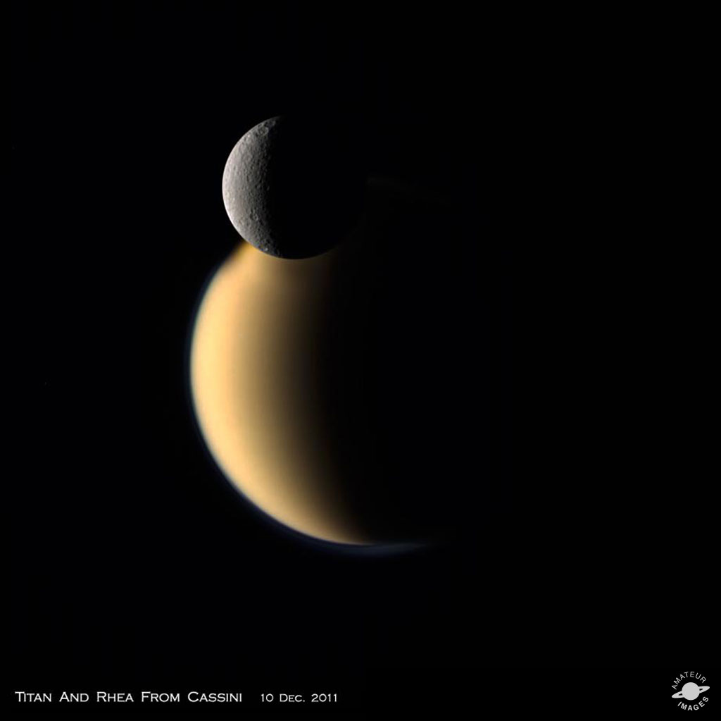 Titan and Rhea from Cassini