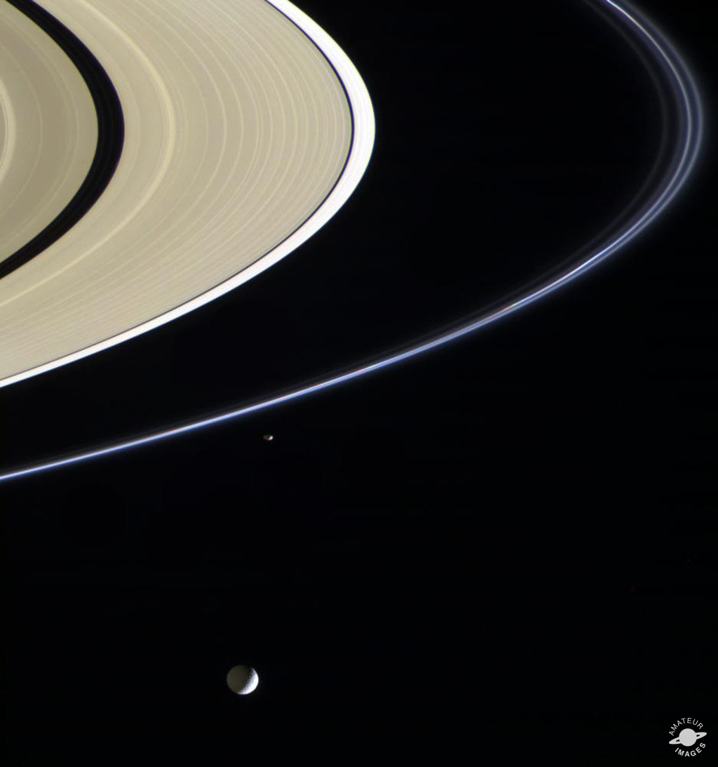 Saturn's rings and moons.