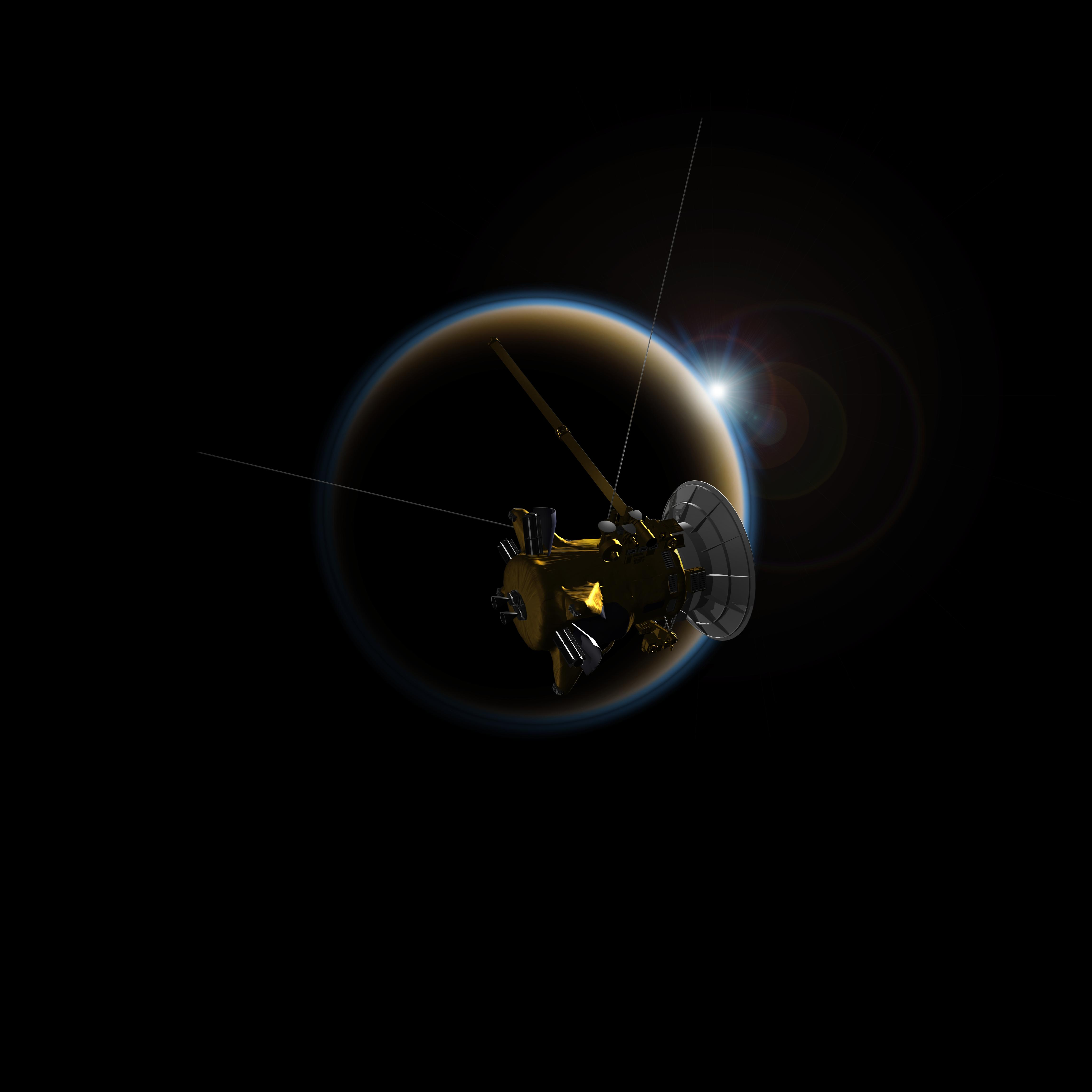 Artist's rendering of NASA's Cassini spacecraft observing a sunset through Titan's hazy atmosphere