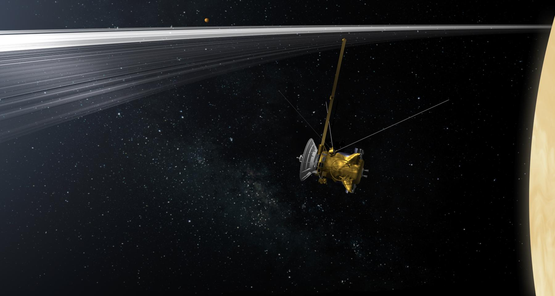 Artist's rendition of Cassini through the rings