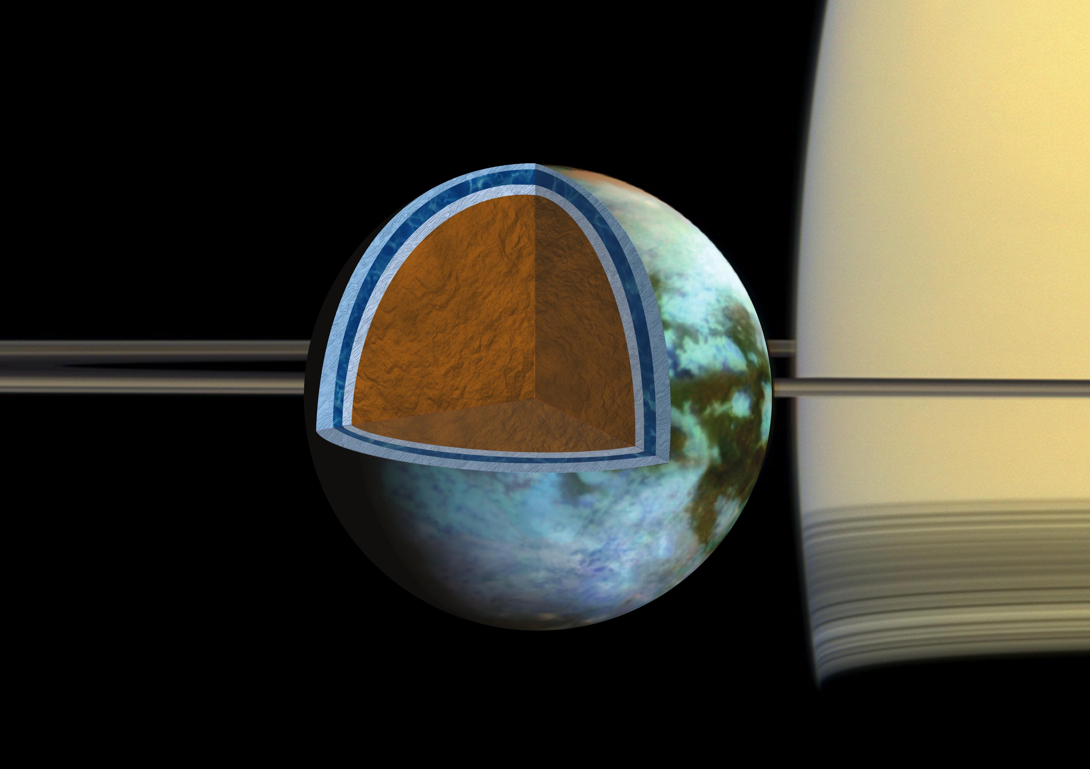 Artist's rendition of Titan's ice shell