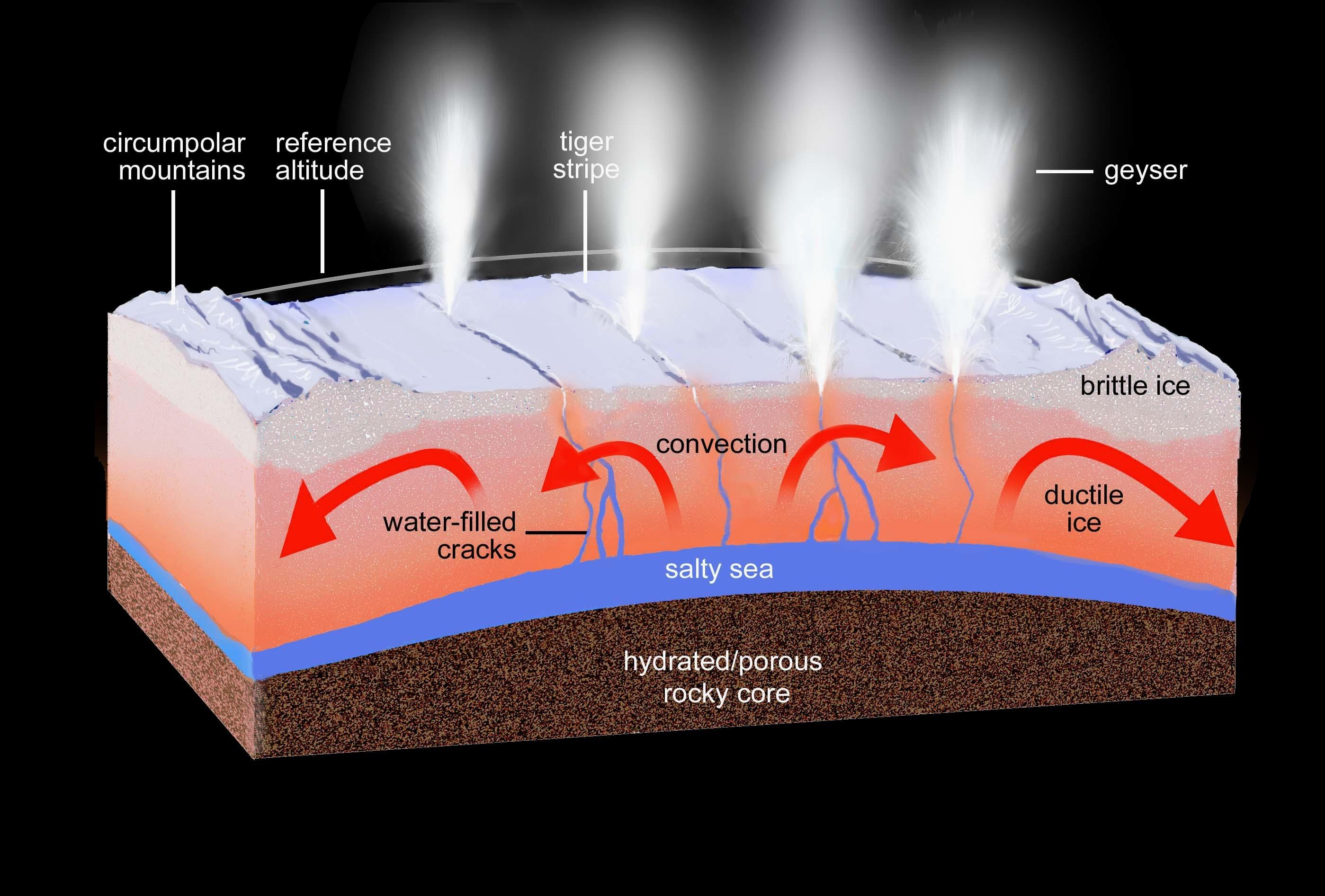 This artist's rendering shows a regional cross-section of the ice shell underlying Enceladus' south polar terrain