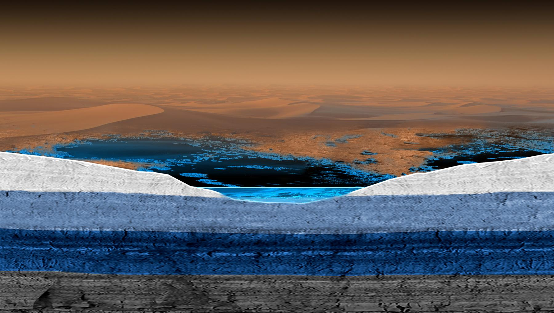This artist's rendering shows a cross-section of the surface and subsurface of Saturn's moon Titan, with a possible model for the structure of underground liquid reservoirs there.