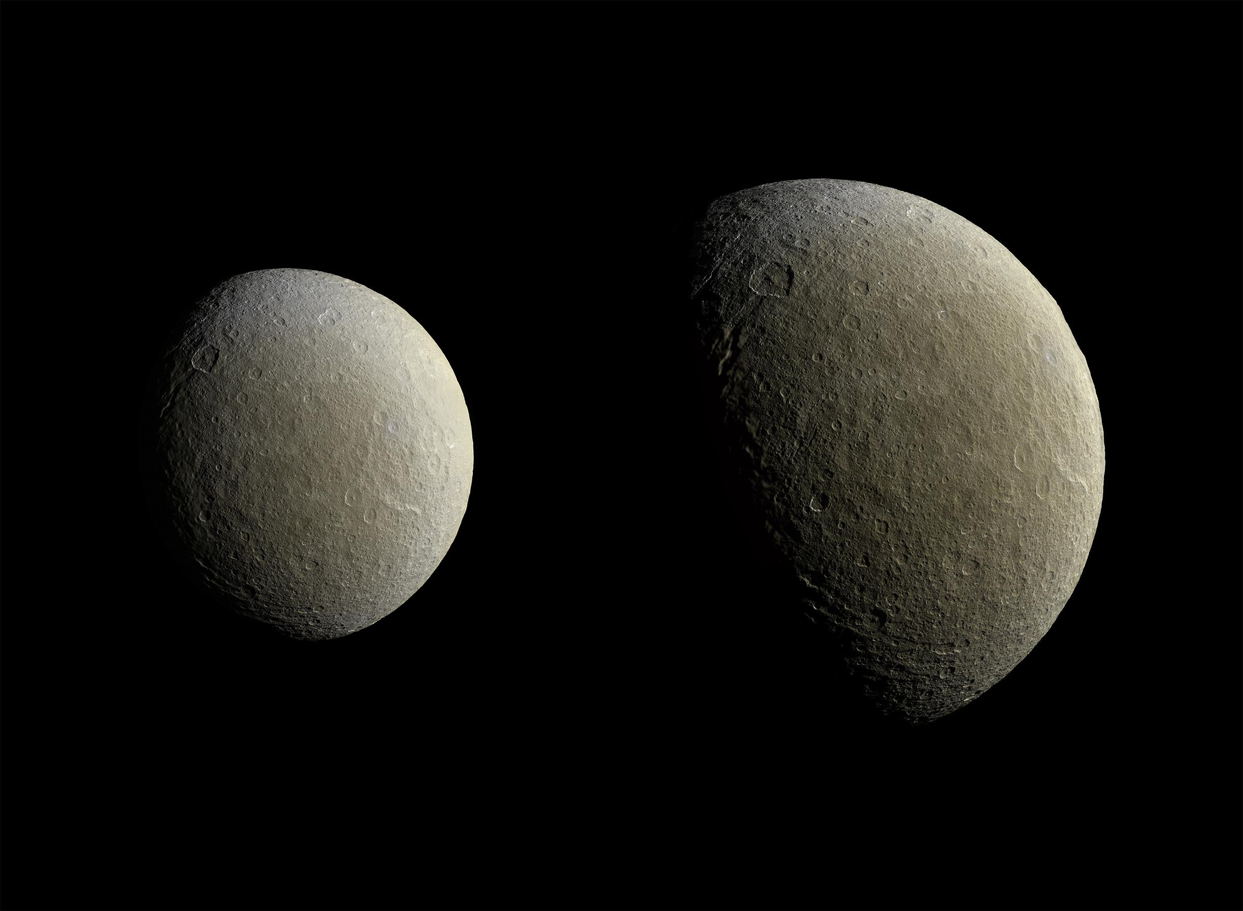 Two views of Rhea taken about an hour and a half apart as Cassini drew closer to the moon.