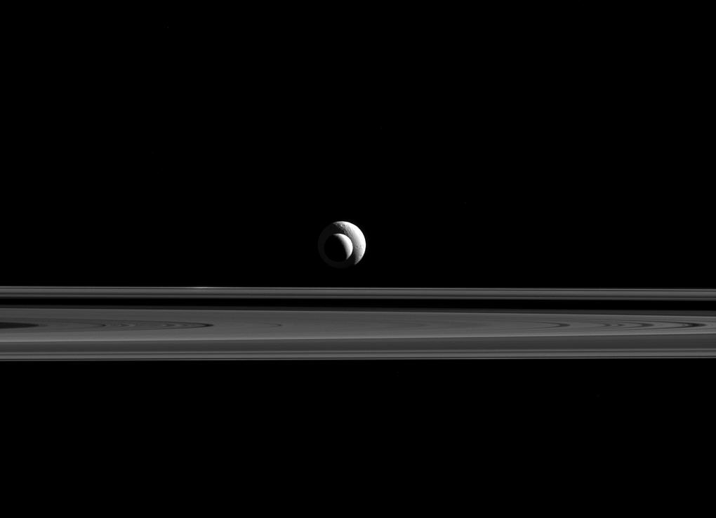 Enceladus, Tethys, and Saturn's rings