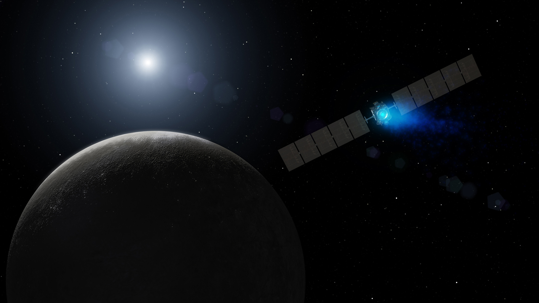Dawn's Arrival at Dwarf Planet (Artist Concept)