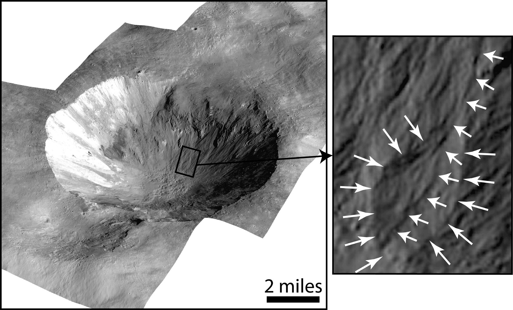 Gully and Fan-Shaped Deposit on Vesta