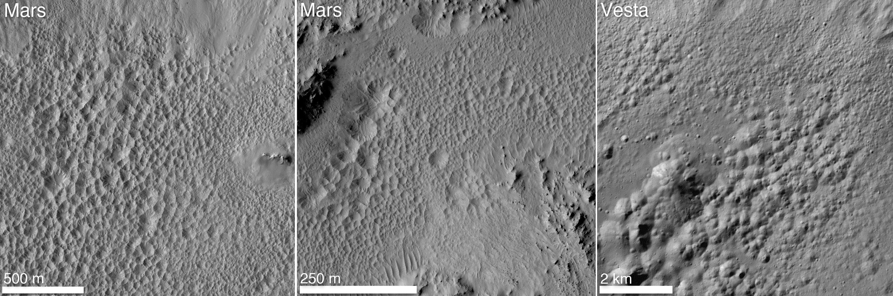 Pitted Terrain on Mars and Vesta