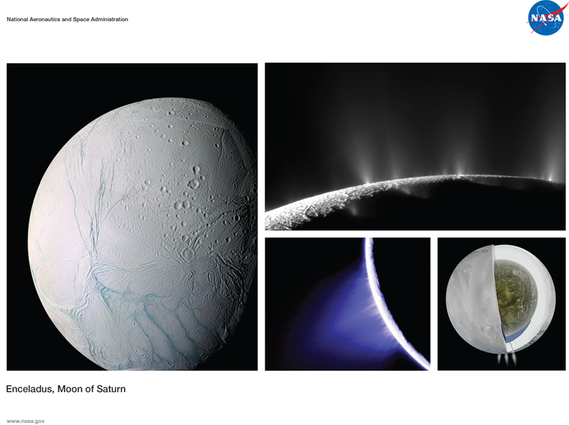 Enceladus, Moon of Saturn lithograph