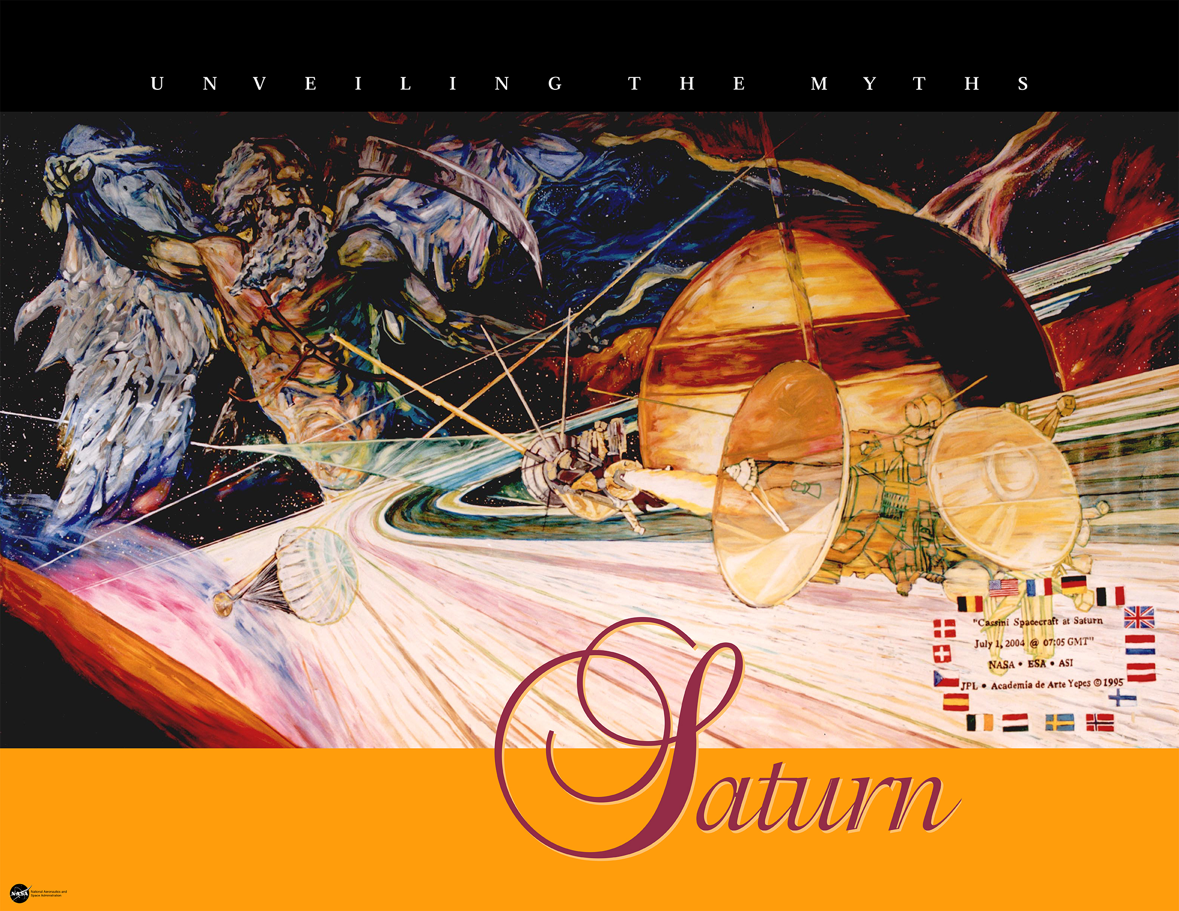 This poster depicts the mythological story of Saturn combined with images of space exploration.
