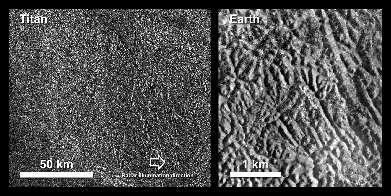 Black and white image showing terrain on Titan compared to similar terrain on Earth.