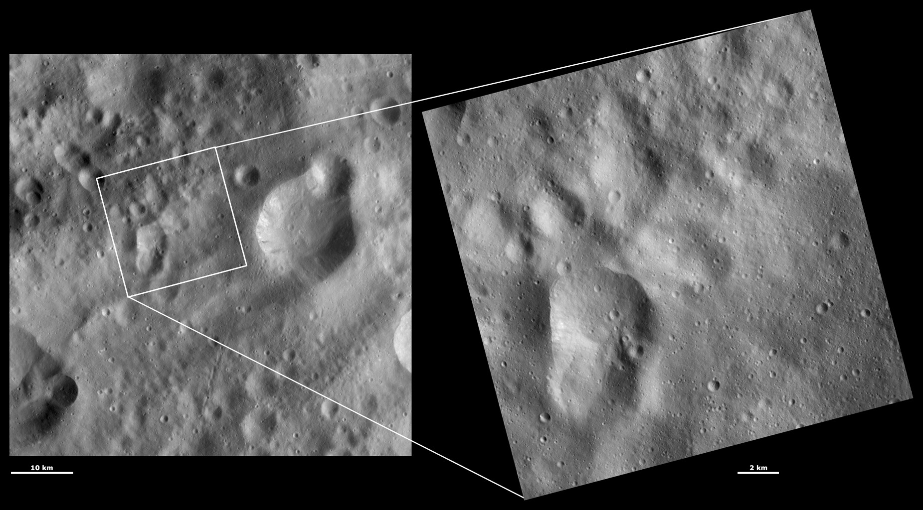 HAMO and LAMO Images of Claudia Crater